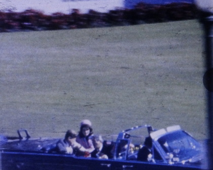 Photo is a still taken from the renown Zapruder film of the movie of the assassination of JFK.